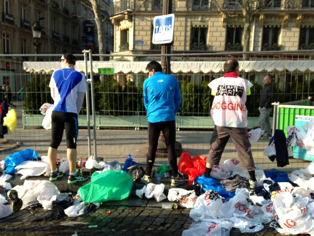 Runners urinating at the start line.